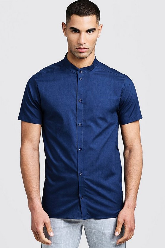 Mens Navy Slim Fit Short Sleeve Grandad Collar Shirt
