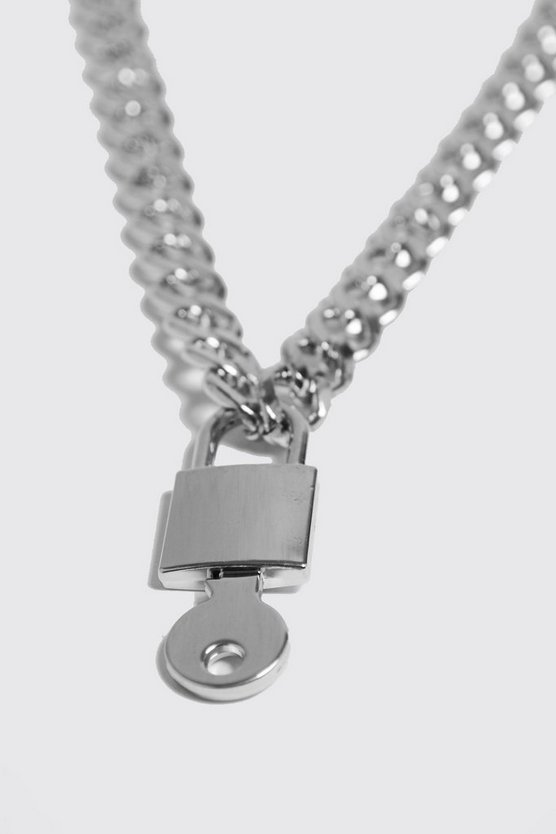 Mens Silver Chunky Padlock Necklace