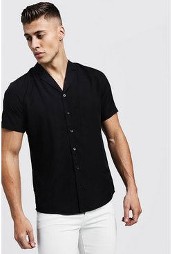 Mens Black Short Sleeve Shirt With Revere Collar