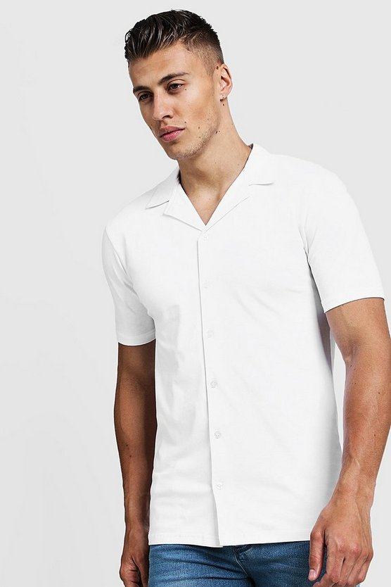 White Muscle Fit Short Sleeve Revere Jersey Shirt