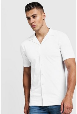Mens White Muscle Fit Short Sleeve Revere Jersey Shirt