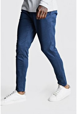 Herr Petrol Skinny Fit Stretch Chino Trouser