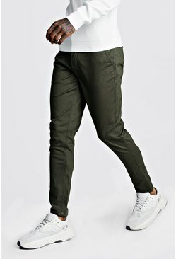 Mens Khaki Skinny Fit Stretch Chino Trouser