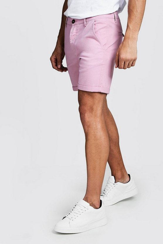 Short chino skinny stretch, Rose pale, Homme