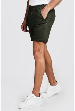 Skinny Fit Chino-Shorts mit Stretch-Anteil, Khaki, Herren