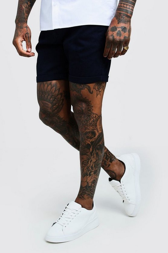 Mens Navy Skinny Fit Stretch Chino Short