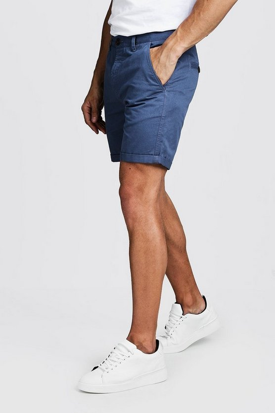 Mens Dusty blue Slim Fit Rigid Chino Shorts