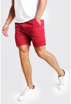Steife Slim-Fit Chino-Shorts, Rot, Herren