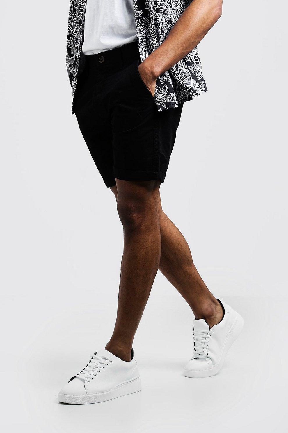 830efe93a47c Mens Black Slim Fit Rigid Chino Short