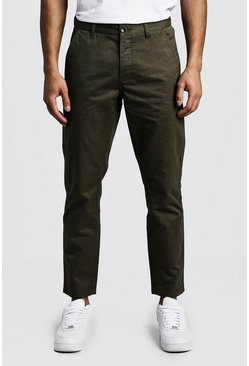 Pantalon chino rigide coupe slim, Kaki, Homme