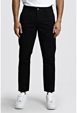 Pantalon chino rigide coupe slim, Noir, Homme