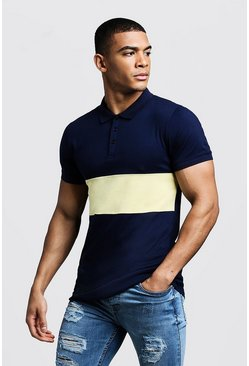 Mens Yellow Colour Block Muscle Fit Polo