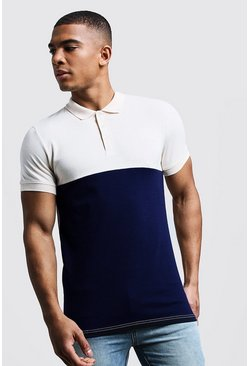 Mens Navy Colour Block Muscle Fit Polo