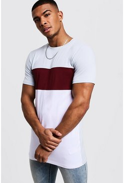 Mens Wine Muscle Fit Longline Colour Block Tee