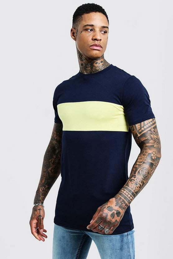 Mens Yellow Muscle Fit Longline Colour Block Tee