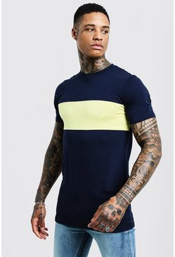 T-shirt long colour block Muscle Fit, Jaune, Homme