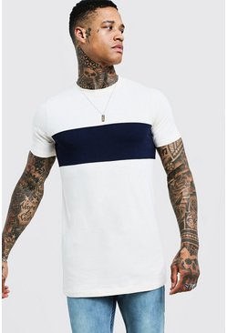 T-shirt long colour block Muscle Fit, Marine