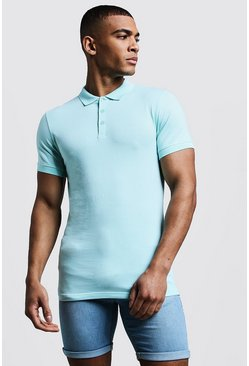Mens Aqua Muscle Fit Polo