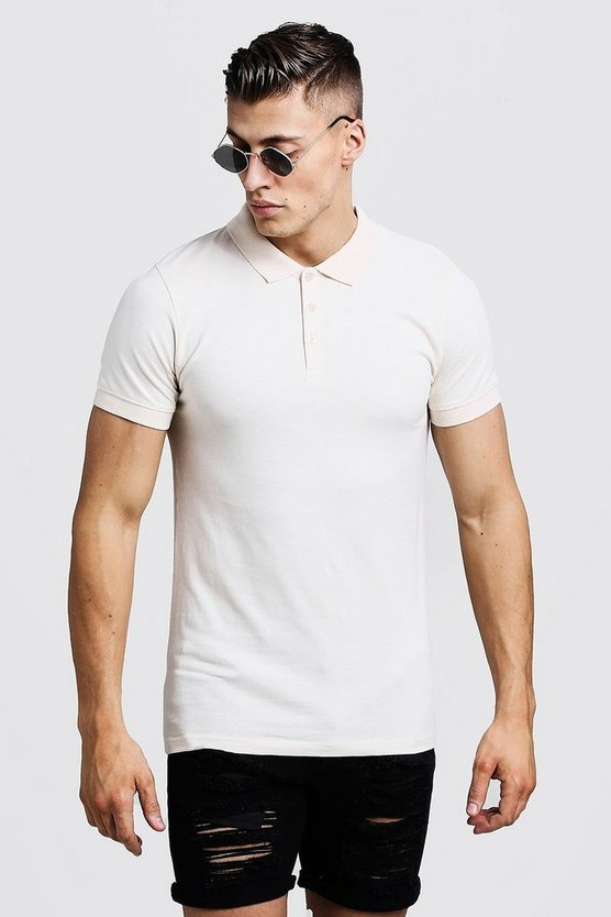 Mens Ecru Muscle Fit Polo