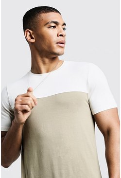 Mens Sage silver Colour Block Muscle Fit T-Shirt