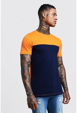 Mens Orange Colour Block Muscle Fit T-Shirt