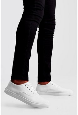 White Lace Up Plimsoll