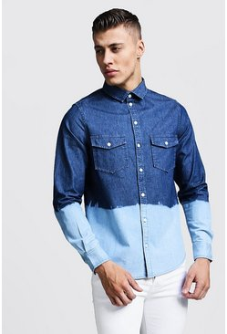 Herr Blue Denim Shirt With Dip Dye Hem