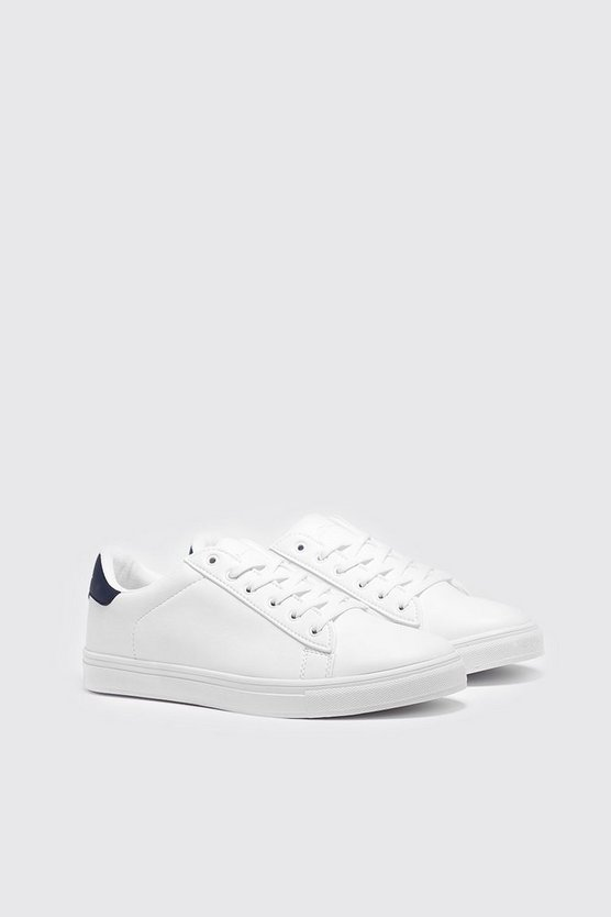 Mens Navy Lace Up Sneaker With Back Tab