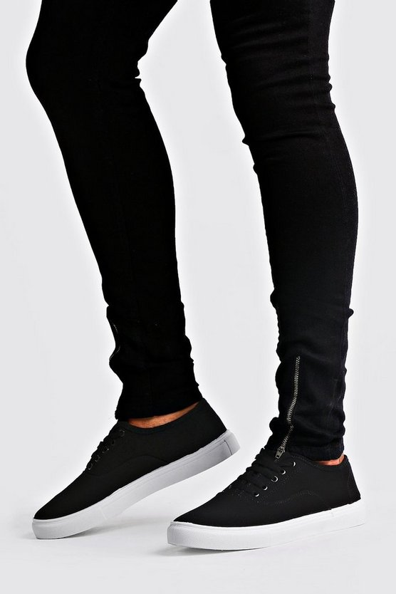 Black Lace Up Plimsoll