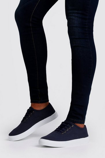 Mens Navy Canvas Lace Up Plimsolls