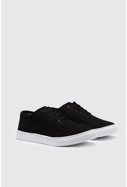Herr Black Canvas Lace Up Plimsolls