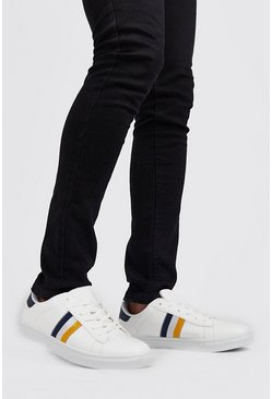 Mens White Stripe Side Tape Detail Trainer