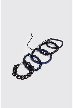 Mens Black Chain & Woven Stack Bracelets