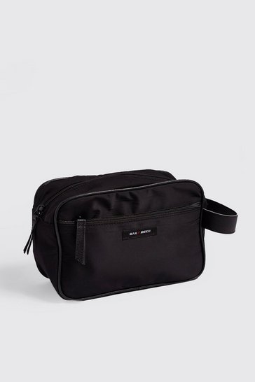 Mens Black Nylon Wash Bag