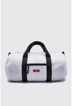 Mens White Mesh Woven Tab Barrel Bag