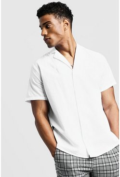 Mens White Short Sleeve Shirt With Revere Collar