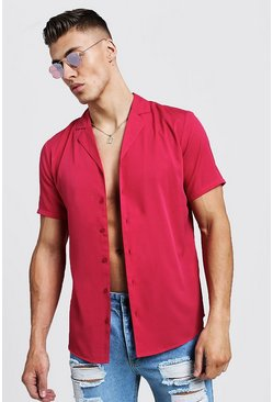 Mens Neon-pink Short Sleeve Shirt With Revere Collar
