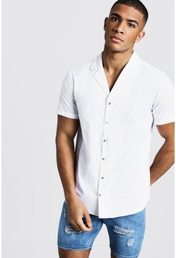 Mens Ecru Short Sleeve Revere Shirt With Mock Horn Buttons