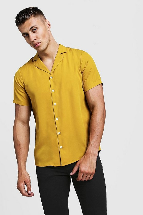 Mens Mustard Short Sleeve Shirt With Revere Collar