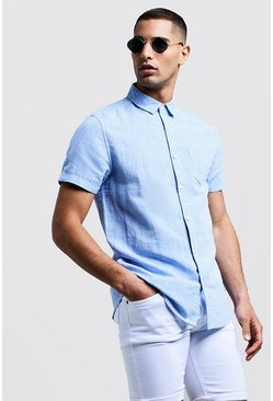 Mens Blue Linen Cotton Blend Short Sleeve Shirt