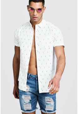 Mens White Neon Palm Tree Print Short Sleeve Shirt