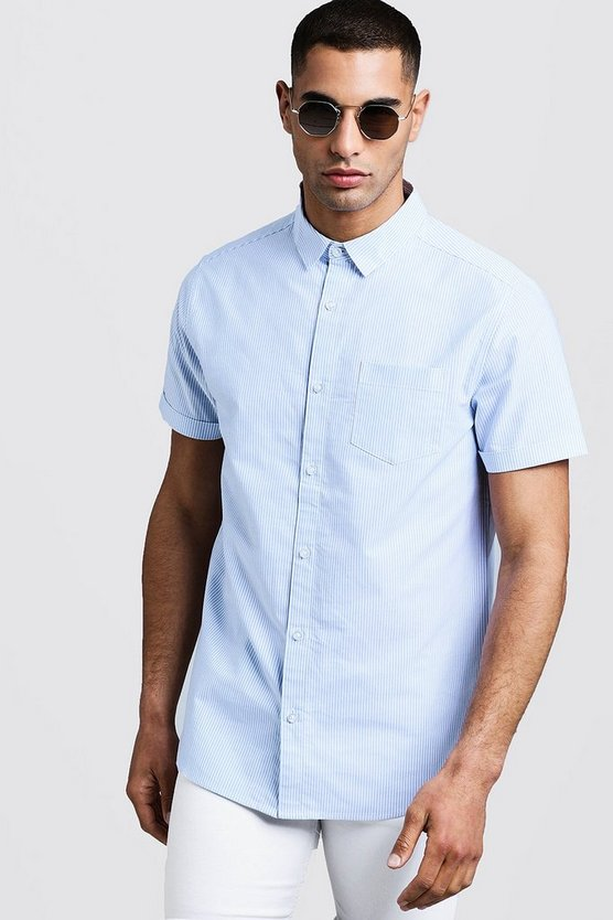 Mens Blue Slim Stripe Oxford Short Sleeve Shirt