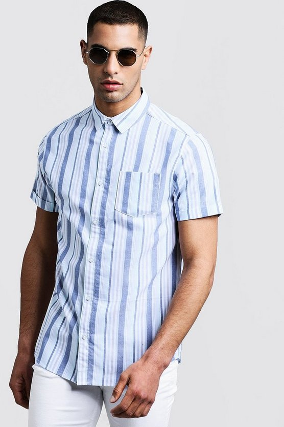 Blue Stripe Oxford Short Sleeve Shirt