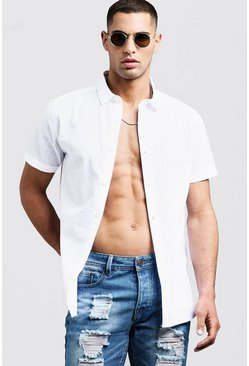 Mens White Short Sleeve Shirt In Cotton Slub