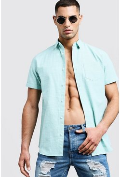 Mens Mint Short Sleeve Shirt In Cotton Blend Slub