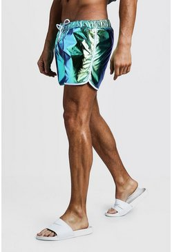 Mens Green Mid Length Iridescent Runner Swim Shorts