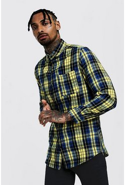 Mens Yellow Check Long Sleeve Slim Fit Shirt With Side Zip
