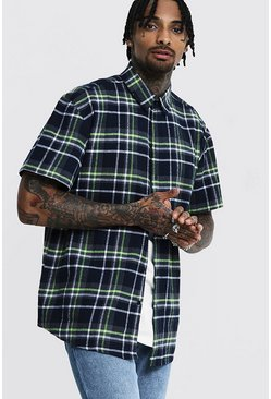 Mens Grey Lime Check Oversized Short Sleeve Shirt