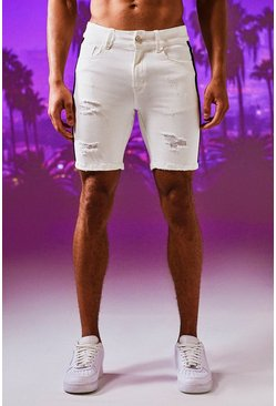 Herr White Skinny Fit Denim Shorts With Side Tape