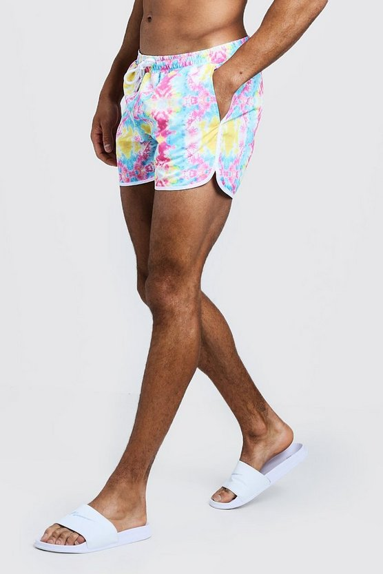 Mens Pink Tie Dye Runner Swim Short